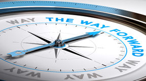 The Way Forward. Compass with needle pointing the text way forward. Conceptual illustration suitable for choice or consulting purpose Royalty Free Stock Photo