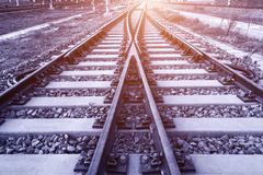 The way forward railway in the dusk Royalty Free Stock Photography