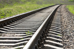 The way forward railway. Rail details of rural regional train railway line Royalty Free Stock Image