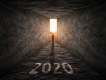 The way forward to 2020 as thinking outside of box concept Royalty Free Stock Photo