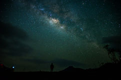Way Galaxy. Beautiful Milky Way Galaxy and mountain background Stock Photo