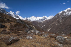 Way between the Gokyo and Machhermo Stock Photography