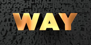 Way - Gold text on black background - 3D rendered royalty free stock picture Royalty Free Stock Image