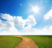 Way on the green field. Background cloud cloudy green grass lawn royalty free stock photos