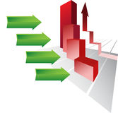 Way of growth. Vector economic diagram with green arrow and red column. Concept is economic growth Royalty Free Stock Image