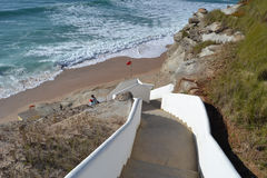 The way from heaven to Earth. Perfect descent to a wonderful beach in Portugal stock images