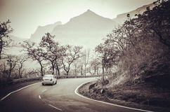 Way through hills... Beautiful road passing through the Hilly region of Sahyadris in Western Ghats of India Stock Image