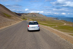 Way between Hofn and Egilsstadìr. Traveling by car on the Icelandic coast Royalty Free Stock Photography