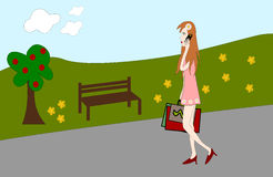 On the way home from a shopping tour. Young woman with shopping bags talking on the phone vector illustration