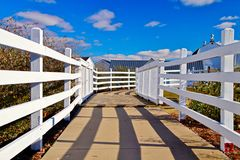The Way Home. White picket fence leads the way to a rural farm. Goodells County Park. St. Clair County, Michigan royalty free stock images