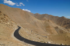 The way from Hundra Desert to Leh in Ladakh, India Royalty Free Stock Photo
