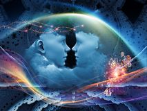 Way of Intelligence. Dreaming Intellect series. Interplay of human face and technological elements on the subject of mind, reason, intelligence and imagination Stock Photography