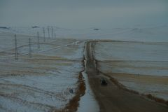 On the way from Khuzhir village to Lake Baikal, Russia. royalty free stock photography