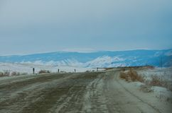 On the way from Khuzhir village to Lake Baikal, Russia. royalty free stock images
