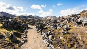 Way at Laugahraun volcanic lava field in Iceland Stock Images
