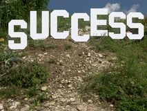The way leading to success. Hollywood style success sign placed on a hill stock photos
