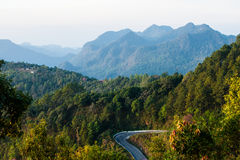 The way and mountain of Doi Angkhang in sunrise time, Chiang Mai Royalty Free Stock Image