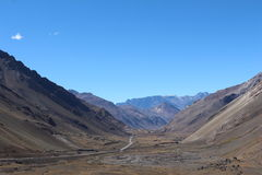Way in the mountain -  mountain landscape. Cordillera de los Andes in Mendoza - Argentina Royalty Free Stock Photos