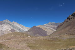 Way in the mountain -  mountain landscape. Cordillera de los Andes in Mendoza - Argentina Royalty Free Stock Image