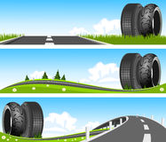 Way through nature with tires Stock Photo