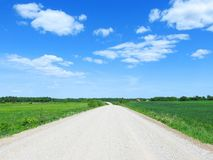 Beautiful simple road and fields, Lithuania Royalty Free Stock Photos