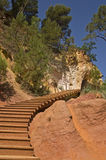 Way of ocher. A nice view of stairs in the way of ocher in Roussilon,Provence,France Stock Images