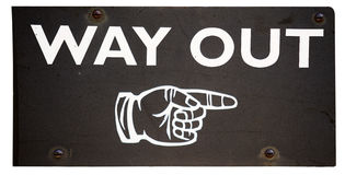 Way out. A hand-painted sign showing the way out, isolated on white Stock Photos