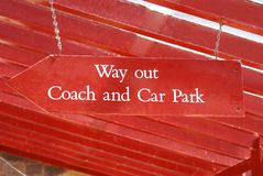 Way out coach and car park sign Stock Images