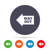 Way out left sign icon. Arrow symbol. Round colourful buttons with flat icons. Vector Stock Photography