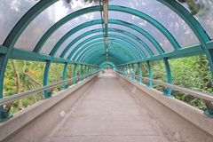 The way out of modern metal structure bridge. A way out of modern metal structure bridge stock photo
