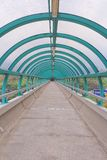 The way out of modern metal structure bridge. A way out of modern metal structure bridge royalty free stock photo