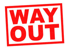 WAY OUT. Red Rubber Stamp over a white background Stock Photo