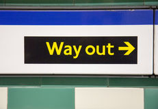 Way out sign in London underground Royalty Free Stock Photography