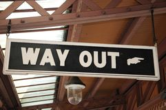 Way out sign, Moor Street Railway Station. Royalty Free Stock Images