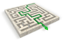Way out of the stone maze. Path across the stone labyrinth stock illustration