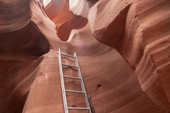The Way Out. Unknown slot Canyon on a Cloudy Day Royalty Free Stock Photo
