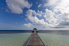 The way of paradise island. A wood pontoon go to blue lagoon and ocean front of a paradise island Stock Photography