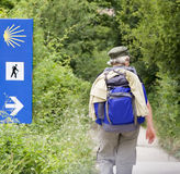 Way of Saint James. Walker doing the way of Saint James (Camino de Santiago) in Spain Stock Images