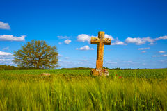 The Way of Saint James cross Palencia cereal field Stock Image