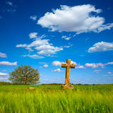 The Way of Saint James cross Palencia cereal field Royalty Free Stock Photography
