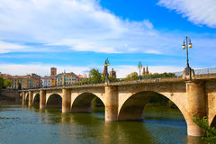 Way of Saint James in Logrono bridge Ebro river Royalty Free Stock Image