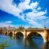Way of Saint James in Logrono bridge Ebro river Stock Image