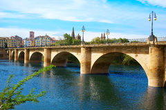 Way of Saint James in Logrono bridge Ebro river Royalty Free Stock Photo