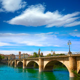 Way of Saint James in Logrono bridge Ebro river Stock Photo