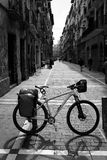 Way of Saint James in Pamplona Calle Mayor bike Royalty Free Stock Images