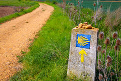 The Way of Saint James shell sign and arrow Royalty Free Stock Image