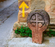The way of Saint james yellow arrow sign Pamplona Stock Image