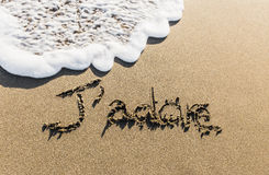 A way of saying French known worldwide sculpted on the sand Stock Image