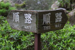 `This way` sigh in a japanese garden. Oh Heian-Jingu Shrine Stock Photography
