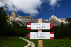 Way sign in the Italian Dolomites Stock Image